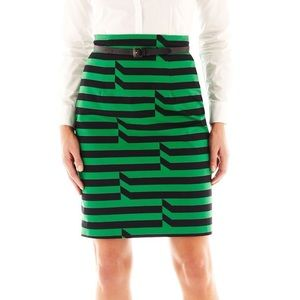 Green Striped Pencil Skirt Size10 Color Block